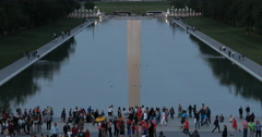 Washington Monmuent Reflection Pool with Tourists Stock Footage