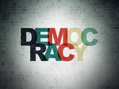 Political concept: Democracy on Digital Data Paper background - stock illustration