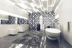 Luxurious clean bathroom with white tub and walls - stock illustration