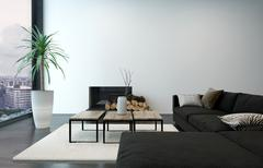 Spacious living room with modern furnishings - stock illustration