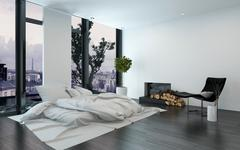 Luxurious apartment with bare walls and fireplace Stock Illustration