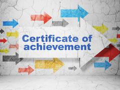 Learning concept: arrow with Certificate of Achievement on grunge wall Stock Illustration
