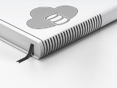 Cloud technology concept: closed book, Database With Cloud on white background Stock Illustration