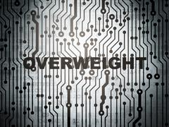 Medicine concept: circuit board with Overweight - stock illustration