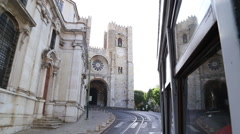 Lisbon Cathedral from tram 28 Stock Footage