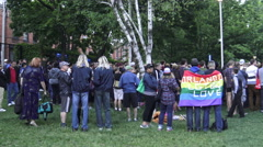 Hundreds attend Orlando Vigil at a park in Toronto, Canada Stock Footage