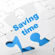 Time concept: Saving Time on puzzle background Stock Illustration