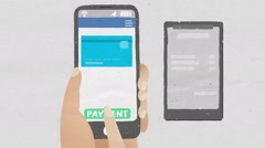 Credit card into smartphone, concept of mobile payment, Mobile credit card. Stock Footage