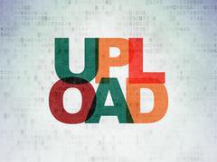 Web design concept: Upload on Digital Data Paper background - stock illustration