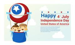 Happy independence day USA 4th of july - stock illustration