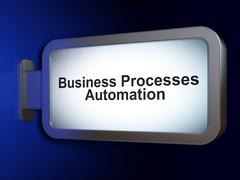 Finance concept: Business Processes Automation on billboard background Stock Illustration