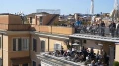 People tourists coffee refreshments balcony relaxing  rome skyline holidays  Stock Footage