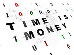 Finance concept: Time is Money on Digital background - stock illustration
