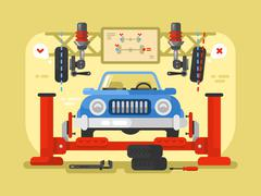 Suspension car design flat - stock illustration