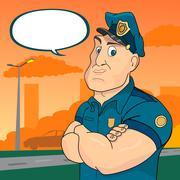 policeman on a street background - stock illustration