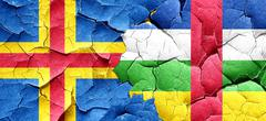 aland islands with Central African Republic flag on a grunge cra - stock illustration
