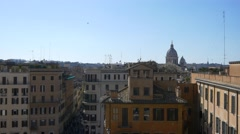 Rome Italy 4k aerial view city sunny european Mediterranean style roof tops - stock footage