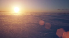 One man go to snowstorm, wind and sun. Cold arctic. Frozen snow drifts Stock Footage