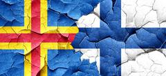 aland islands with Finland flag on a grunge cracked wall - stock illustration