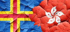 aland islands with Hong Kong flag on a grunge cracked wall - stock illustration
