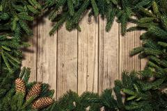 Christmas background on a wooden rustic old table Kuvituskuvat