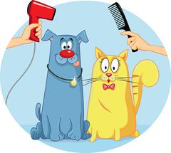 Cat and Dog at Pet Salon Vector Cartoon - stock illustration