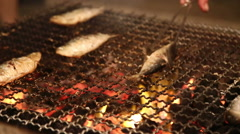 Fish grilled on flames Stock Footage