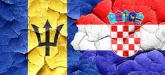 Barbados flag with Croatia flag on a grunge cracked wall - stock illustration