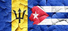 Barbados flag with cuba flag on a grunge cracked wall - stock illustration