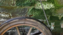 Wooden watermill pulley  spinning Stock Footage