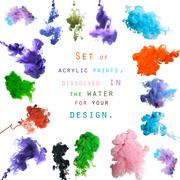 Set of acrylic paints, dissolved in the water for your design Stock Photos