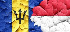 Barbados flag with Indonesia flag on a grunge cracked wall Stock Illustration