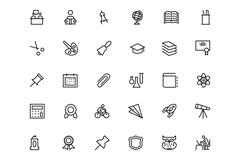 School and Education Line Icons - stock illustration