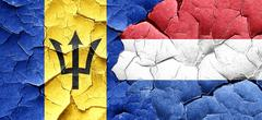 Barbados flag with Netherlands flag on a grunge cracked wall - stock illustration