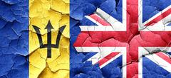 Barbados flag with Great Britain flag on a grunge cracked wall Stock Illustration