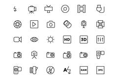 Photograph Line Vector Icons - stock illustration