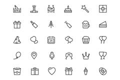 Celebration Line Vector Icons - stock illustration