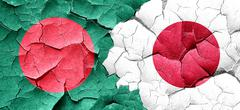 Bangladesh flag with Japan flag on a grunge cracked wall - stock illustration