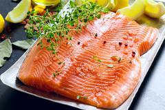 raw salmon fillets - stock photo