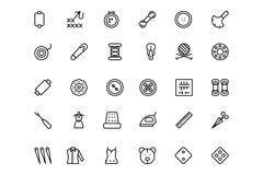 Sewing Line Vector Icons Set Stock Illustration