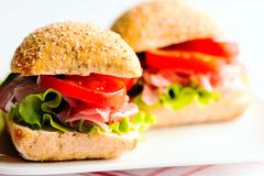 sandwich with cold cuts - stock photo
