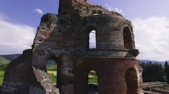 Ancient church ruins aerial Stock Footage