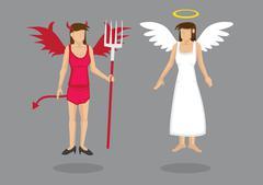 Angel and Devil Vector Cartoon Characters Illustration Stock Illustration