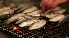 Grilled sardines on the fire Stock Footage