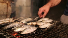 Fish on the grill Stock Footage