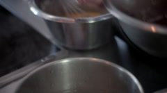Chef mixing chocolate with egg at kitchen. - stock footage