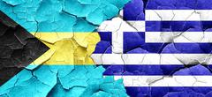 Bahamas flag with Greece flag on a grunge cracked wall - stock illustration