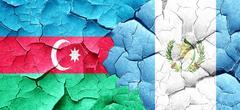 Azerbaijan flag with Guatemala flag on a grunge cracked wall Stock Illustration