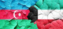 Azerbaijan flag with Kuwait flag on a grunge cracked wall Stock Illustration