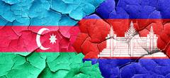 Azerbaijan flag with Cambodia flag on a grunge cracked wall Stock Illustration